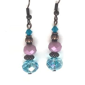 Purple & Turquoise~Antique Brass~Crystal~Earrings